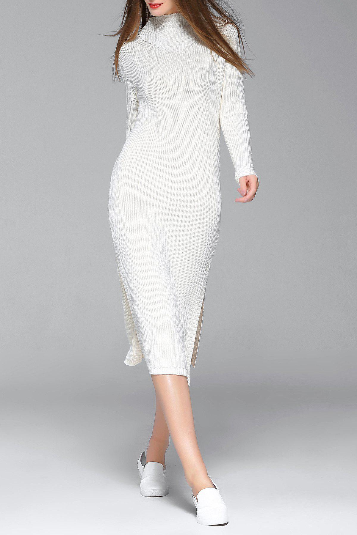 Outfits Fitted Midi Mock Neck Long Sleeve Sheath Slit Sweater Dress