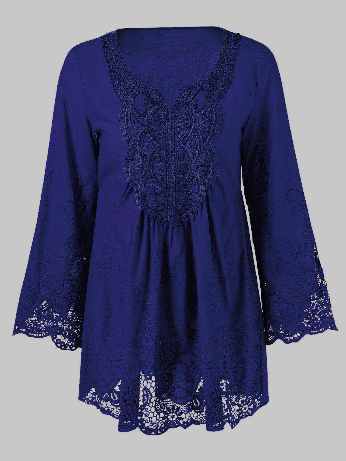 Fancy Lace Splicing Long Sleeve Peasant Blouse