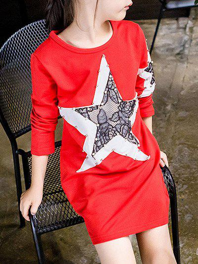 Store Star Spliced Beaded T-Shirt Dress
