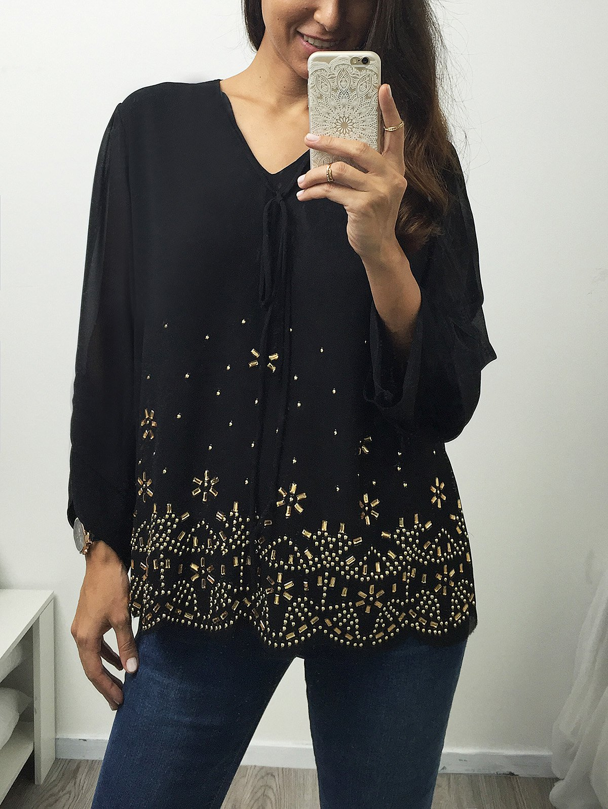 Shop V Neck Long Sleeve Rhinestone Blouse