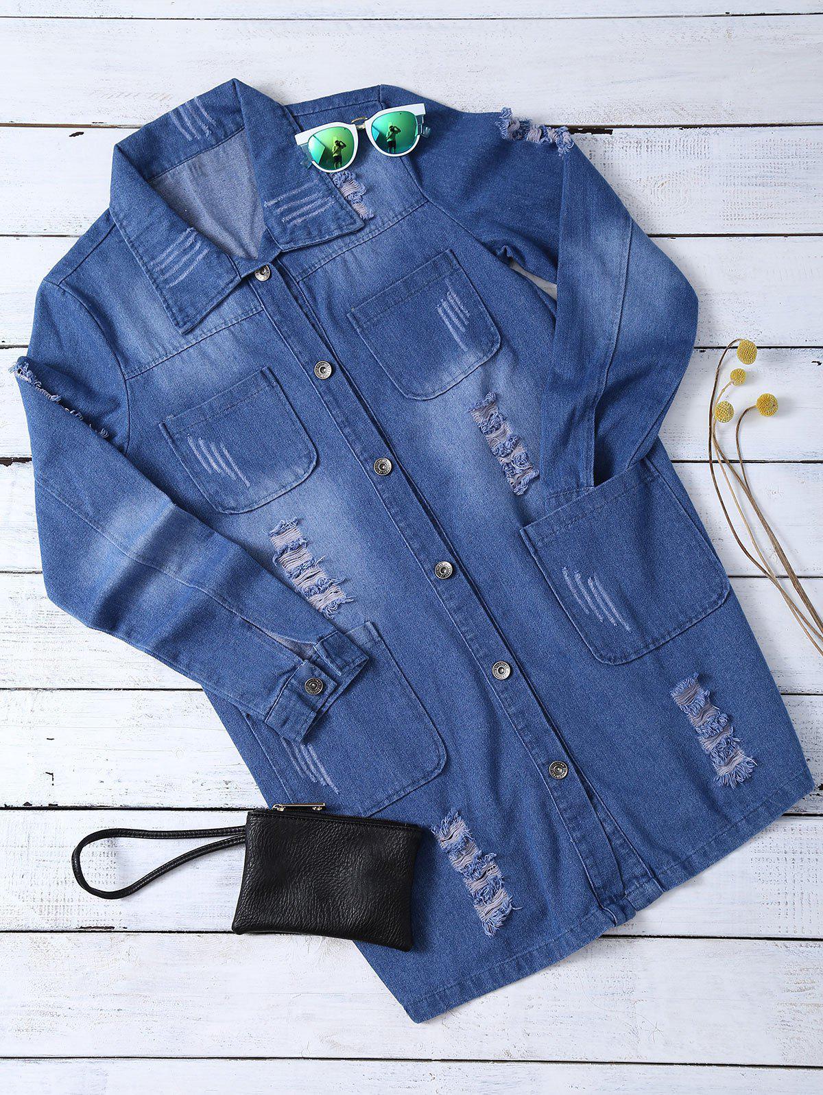 Affordable Ripped Four Pockets Denim Shirt