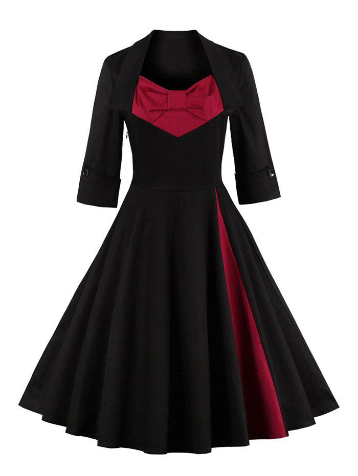 Bowknot Panel Flare Rockabilly Swing DressWOMEN<br><br>Size: M; Color: BLACK; Style: Vintage; Material: Cotton Blend,Polyester; Silhouette: Ball Gown; Dresses Length: Knee-Length; Neckline: Sweetheart Neck; Sleeve Length: 3/4 Length Sleeves; Embellishment: Bowknot; Pattern Type: Patchwork; With Belt: No; Season: Fall,Spring,Winter; Weight: 0.4040kg; Package Contents: 1 x Dress;