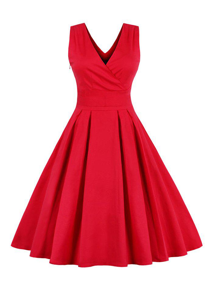 Retro Sleeveless Tea Length Party DressWOMEN<br><br>Size: 4XL; Color: RED; Style: Vintage; Material: Cotton Blend,Polyester; Silhouette: Ball Gown; Dresses Length: Mid-Calf; Neckline: V-Neck; Sleeve Length: Sleeveless; Embellishment: Bowknot; Pattern Type: Solid; With Belt: No; Season: Fall,Spring,Winter; Weight: 0.4700kg; Package Contents: 1 x Dress;