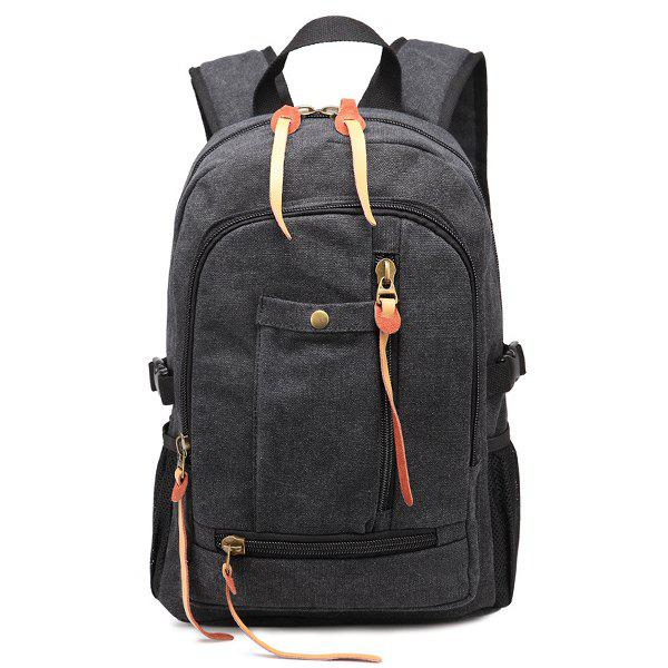 Online Canvas Zippers Colour Splicing Backpack