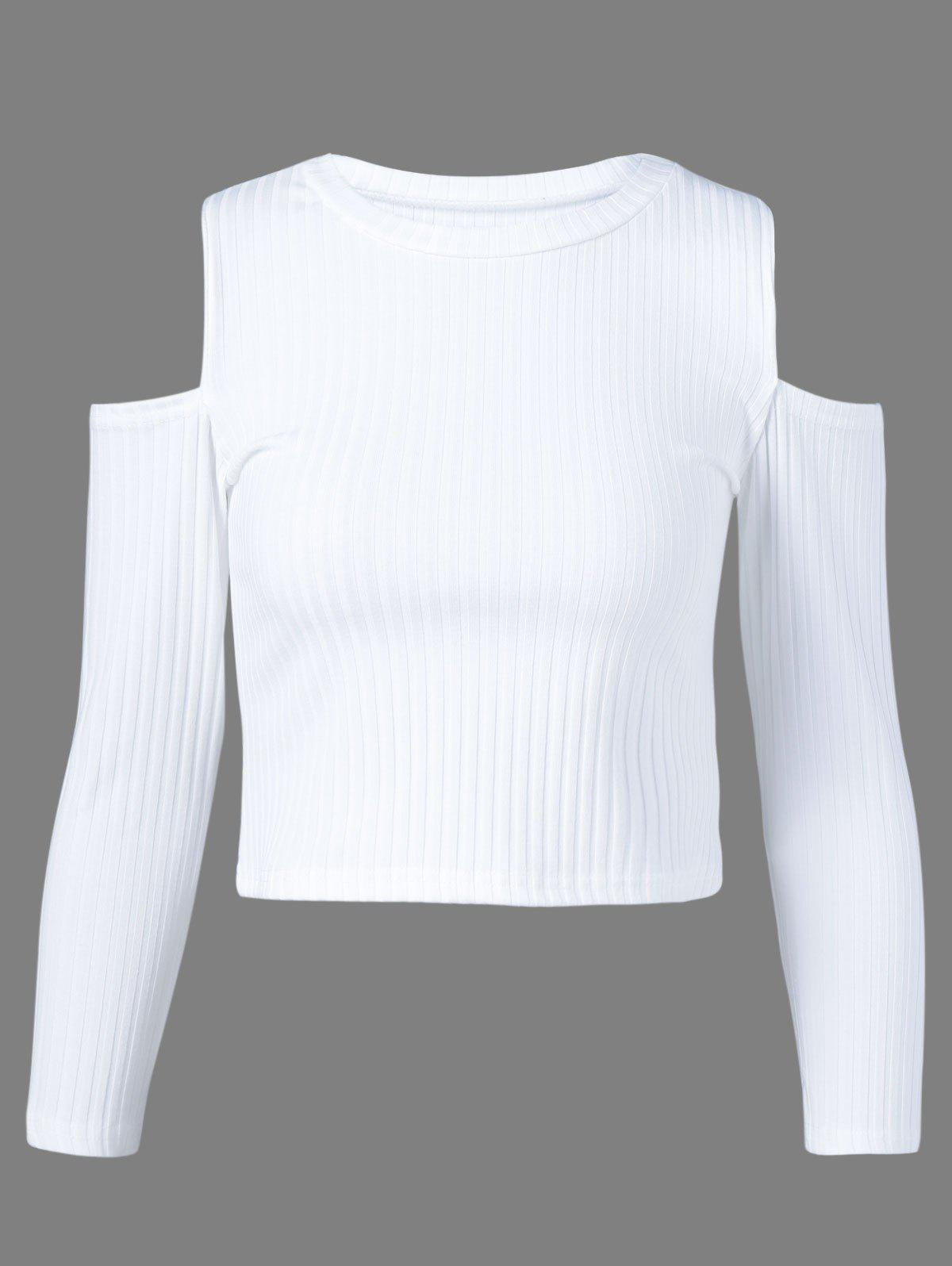 Fancy Cold Shoulder Plain Cropped Sweater