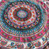 Ethnic Paisley and Elephant Print Chiffon Round Beach Throw - ROSE RED ONE SIZE
