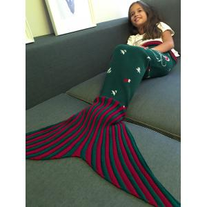 High Quality Santa Claus Pattern Knitting Mermaid Tail Blanket For Kid - Deep Green - L