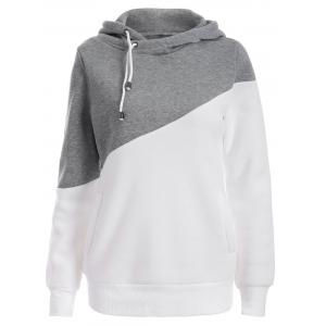Pullover Drawstring Color Block Hoodie - Gray - 2xl