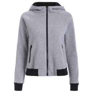 Two Tone Zip Up Hoodie - Gray - L