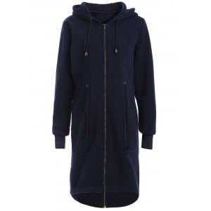 Hooded Zip Up Drawstring Coat