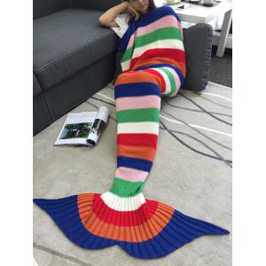 Acrylic Knitting Colorful Striped Mermaid Tail Design Blanket