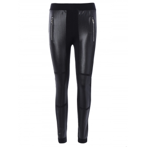 Elastic Waist PU Leather Patchwork Leggings - Black - One Size