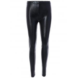 Elastic High Waist PU Leather Leggings - Black - One Size