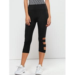 Hollow Out Quick -Dry Gym Running Capris - Black - Xl