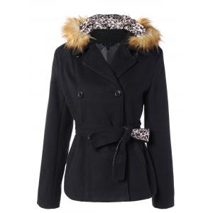 Take Off Faux Fur Hooded Double Breasted Slim Fitted  Coat - Black - M