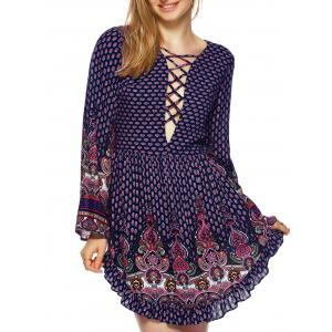 Flounce Lace Up Floral BohoTunic Dress
