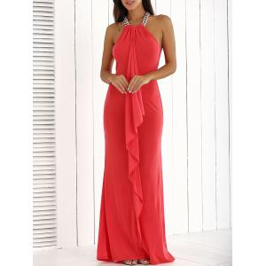 Ruffle Floor Length Long Maxi Formal Party Evening Dress