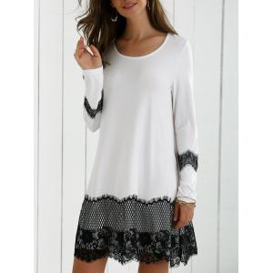 Lace Splicing Spring Casual Long Sleeve Dress - White And Black - M