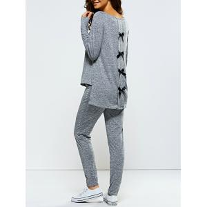 Bowknot Embellished Asymmetrical Sports Suit - Gray - Xl