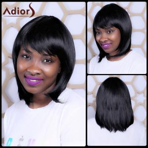 Sophisticated Medium Synthetic Full Bang Straight Capless Wig