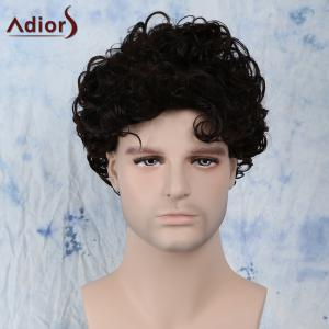Short Fluffy Curly Side Bang Synthetic Capless Wig - Black Brown