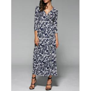 Floral Print Wrap Front Slit Maxi Summer Dress