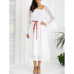 Drawstring Bell Sleeves Lace Spliced Chiffon Dress - White - M