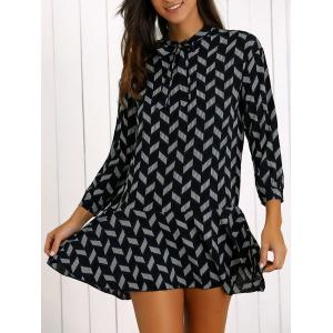 Printed Bowknot Tie Flounce Hem Mini Dress