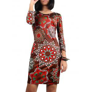 Christmas 3/4 Sleeve Printed Dress