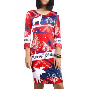 Christmas 3/4 Sleeve Snowflake Print Dress - Red - S