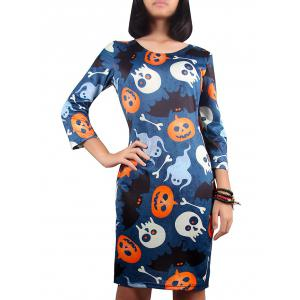 Halloween Pumpkin Lantern Print Dress - Deep Blue - S
