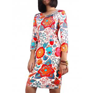 Christmas 3/4 Sleeve Ornate Print Dress
