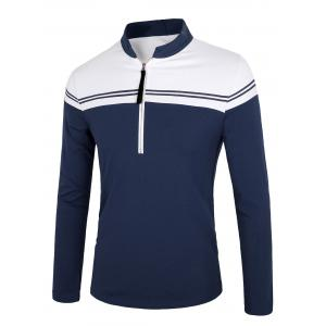 Color Block Splicing Stripe Half Zip Design Long Sleeve T-Shirt