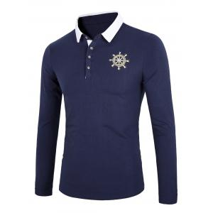 Color Block Splicing Rudder Embroidery Long Sleeve Polo T-Shirt