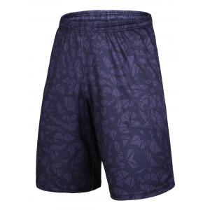 Crushed Ice Printed Elastic Waist Basketball Shorts