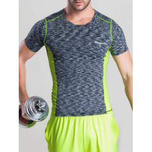 Quick-Dry Color Block Spliced Printed Round Neck Short Sleeve T-Shirt