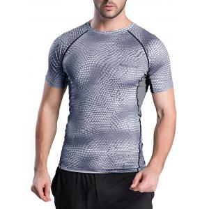 Quick-Dry Snakeskin Pattern Short Sleeve Gym T-Shirt - Gray - S