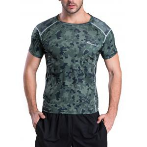 Quick-Dry Fitted Camouflage Printed Short Sleeve T-Shirt - Army Green - S