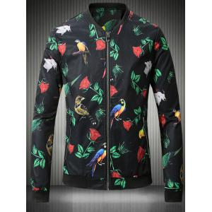 Stand Collar Plus Size 3D Rose and Bird Print Jacket