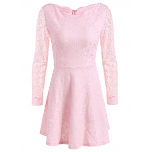 Lace Mini Skater Short Dress with Sleeves - Pink - M