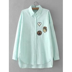 Plus Size High Low Applique Shirt