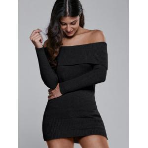 Off The Shoulder Fitted Mini Sweater Dress