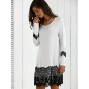 Lace Splicing Spring Casual Long Sleeve Dress - WHITE/BLACK L