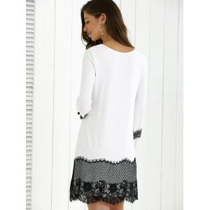 Lace Splicing Spring Casual Long Sleeve Dress - WHITE AND BLACK L