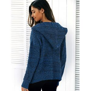 Pullover Hooded Heathered Sweater - DEEP BLUE ONE SIZE