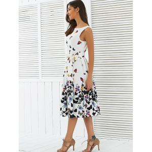 Sleeveless Floral Print Self Tie A Line Dress -