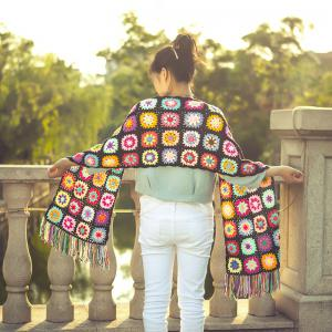 Ethnic Crochet Flower Pattern Tassel Knitted Scarf - Colorful