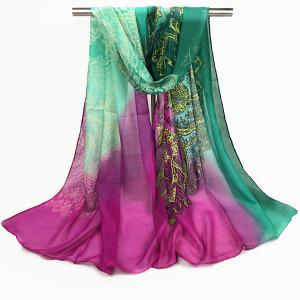 Paisley and Gradient Print Chiffon Scarf - Rose Red