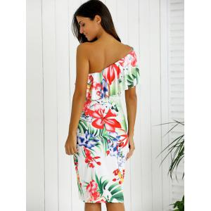 One-Shoulder Overlay Floral Print Fitted Dress - WHITE L