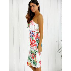 One-Shoulder Overlay Floral Print Fitted Dress - WHITE M